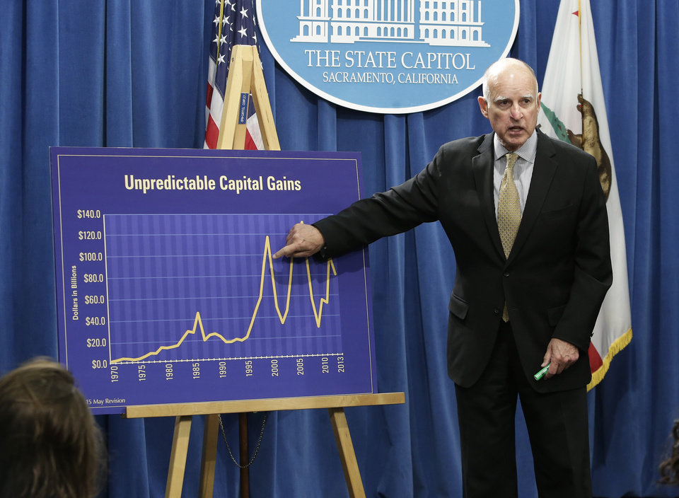 Photo - Gov. Jerry Brown points a chart showing the unpredictable nature Capitol gains tax revenues have on the state budget as he unveils his revised 2014-15 spending plan at the Capitol in  Sacramento, Calif., Tuesday, May 13, 2014.  The revised budget projects $107.7 billion in spending from the general fund, that's nearly $1 billion more than the budget Brown proposed in January.(AP Photo)