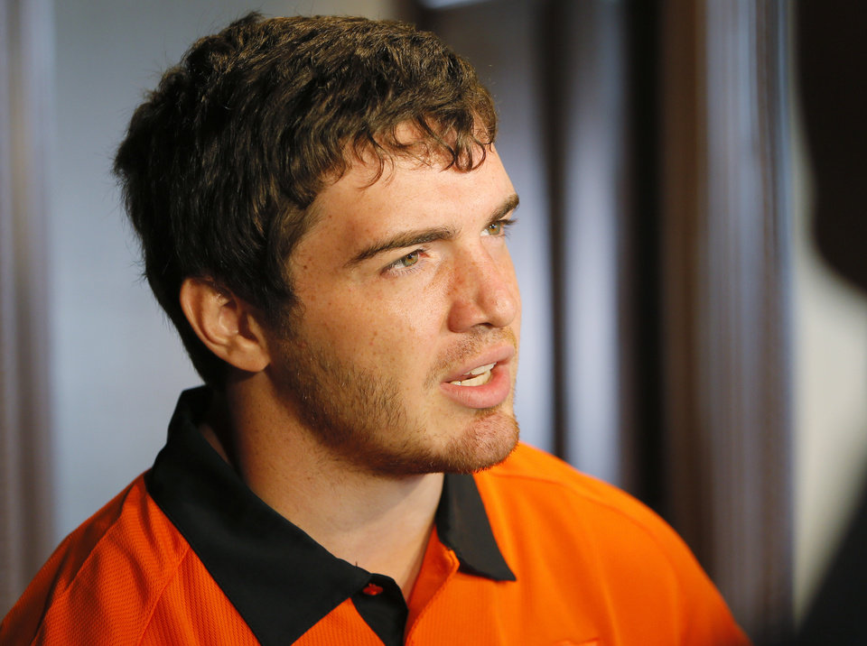 OSU's Alex Elkins speaks with the media during Oklahoma State University football media availability at Boone Pickens Stadium in Stillwater, Okla., Thursday, Aug. 23, 2012. Photo by Nate Billings, The Oklahoman