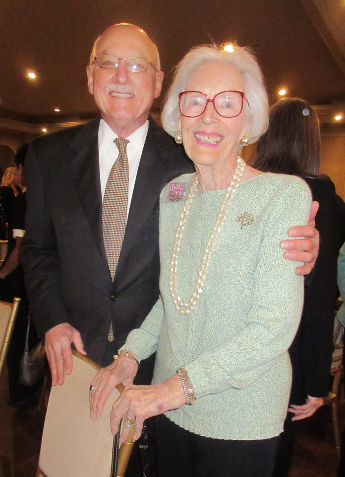 Photo - James Pickel, Joan Gilmore at the luncheon. PHOTO BY HELEN FORD WALLACE, THE OKLAHOMAN