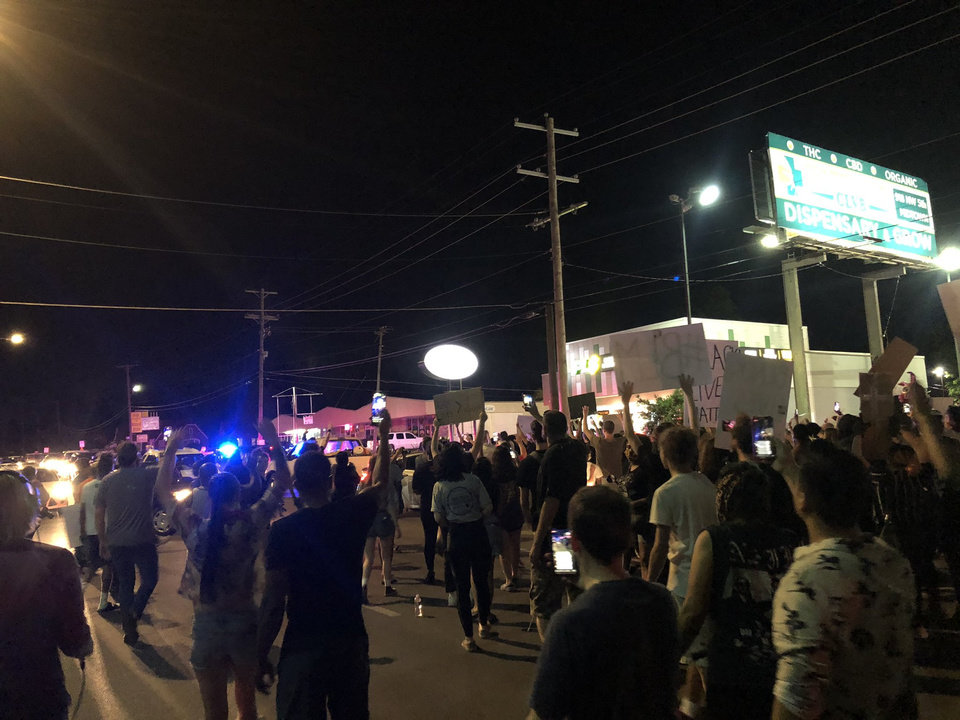 Photo - Protesters gather Saturday, May 30, 2020, near NW 23rd in Oklahoma City. Photo by Nuria Martinez-Keel