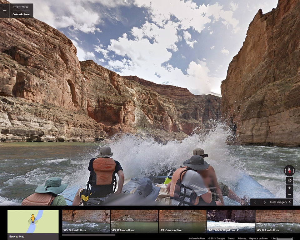 Photo - This August, 2013 photo illustration provided by Google shows a frame from a moving time-lapse sequence of images, as Internet viewers would see it, of rafters on the Colorado River in Grand Canyon National Park., Ariz. Google has taken its all-seeing eyes on a trip that few ever get to experience - a moving tour of the river through the Grand Canyon courtesy of a Google time-lapse camera making sequential images. The search giant partnered with American Rivers to showcase the whitewater rapids, a handful of hiking trails, the towering red canyon walls and the stress placed on the river by drought and humans. The imagery taken last August went live Thursday, March 13, 2014. (AP Photo/Google)