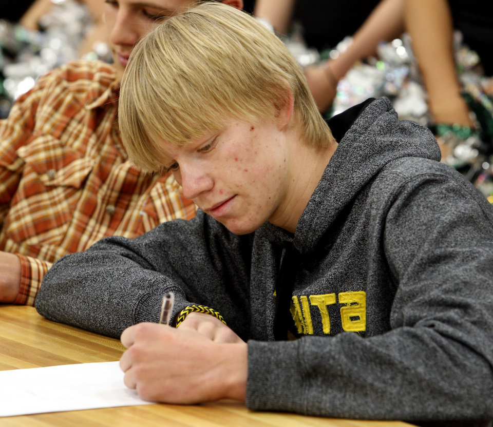 Photo - Wichita State University baseball commit Brad Kinsey attends signing day ceremonies at Norman North High School on Wednesday, Feb. 5, 2014 in Norman, Okla.  Photo by Steve Sisney, The Oklahoman