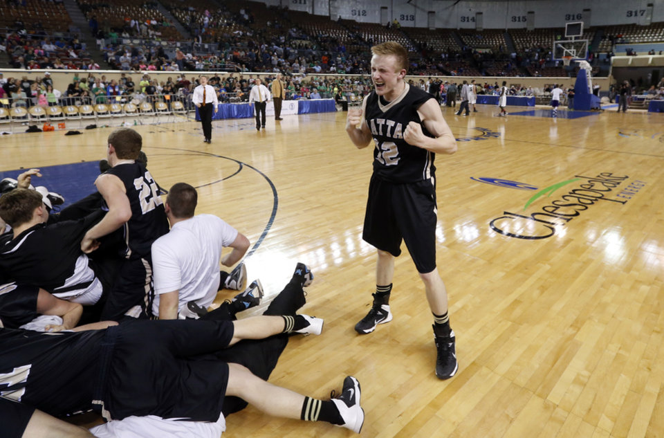 Photo - Latta guard Treston Tully reacts as the Latta Panthers defeat the Haworth Lions 57-50 in the finals of the State Class 2A Boys Basketball Tournament at the Fairgrounds Arena on Saturday, March 15, 2014, in Oklahoma City, Okla. Photo by Steve Sisney, The Oklahoman