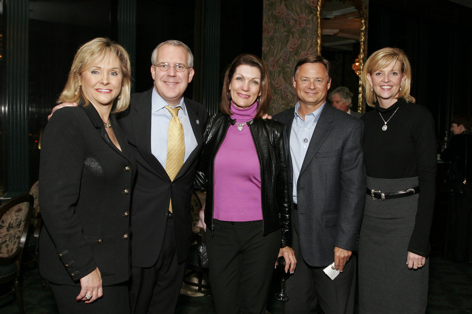 Photo - Congresswoman Mary Fallin, Governor Brad Henry, Susan Coles, Clif Davis, and Kim Henry at the after party for the Centennial Spectacular at the Ford Center Friday, Nov. 16, 2007. By David Faytinger, for The Oklahoman.