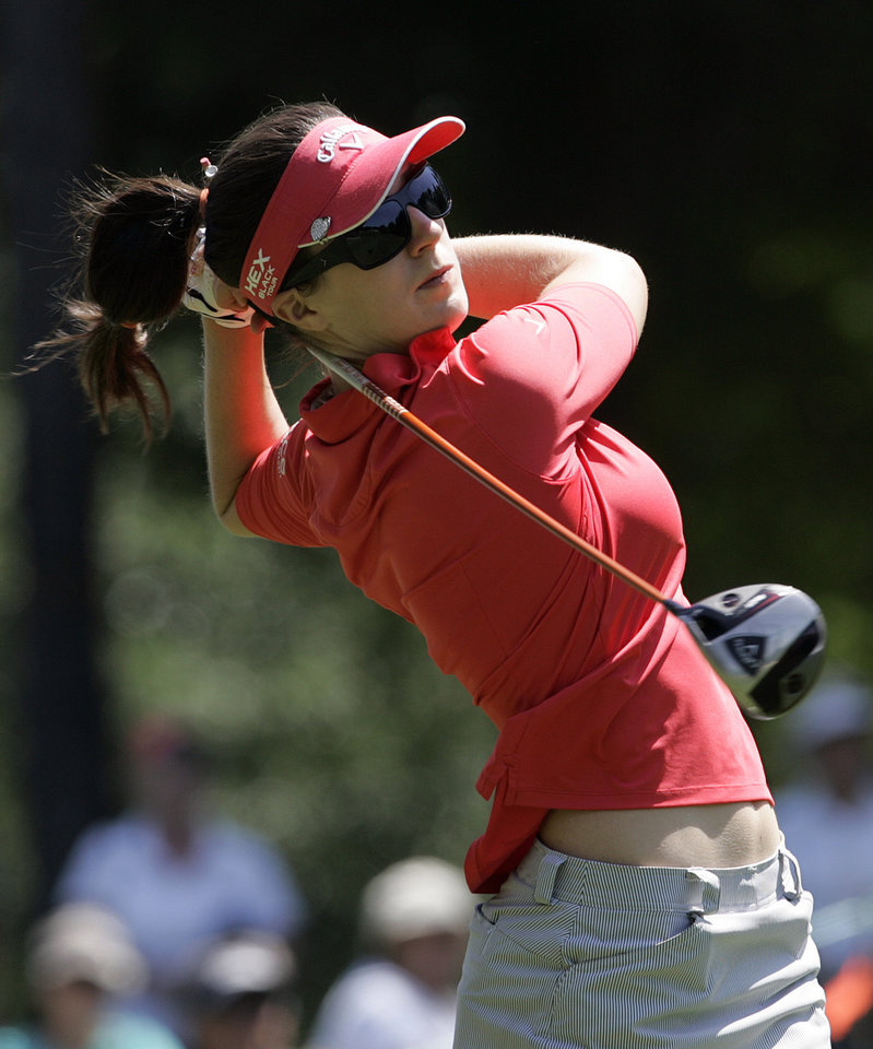 Photo -   Sandra Gal, of Germany, tees off on the 10th hole during the first round of the Mobile Bay LPGA Classic golf tournament, Thursday April 26, 2012, in Mobile, Ala. (AP Photo/ Press-Register, Victor Calhoun) MAGS OUT