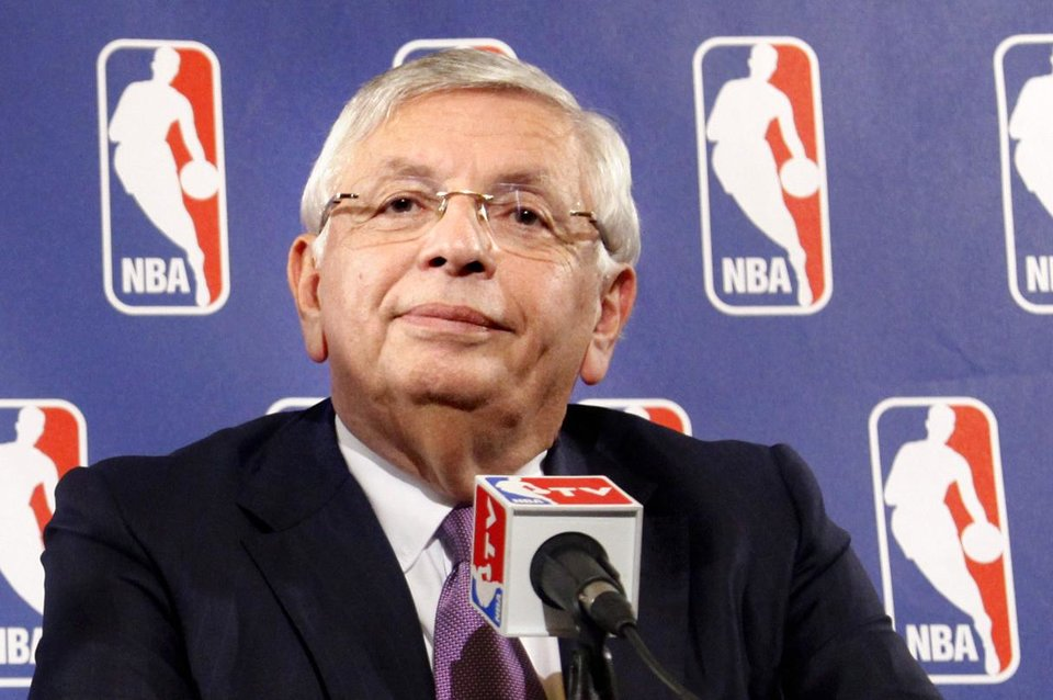 Photo - FILE - In this file photo taken Oct. 4, 2011, NBA Commissioner David Stern listens  during a news conference following NBA labor talks meeting between basketball players and owners in New York. Stern canceled all November games on Friday, Oct. 28, the 120th day of the lockout. (AP Photo/Bebeto Matthews, file) ORG XMIT: NY163