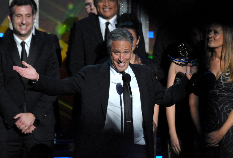 Photo -   Jon Stewart accepts the award for Outstanding Variety Series for
