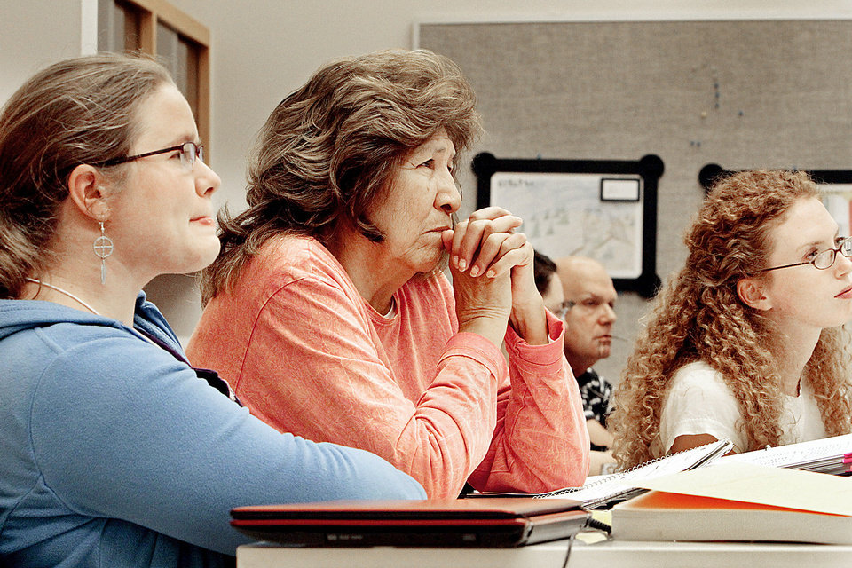 Photo - Linguistic expert Libby Tatz, left, and workshop participant Cheyenne Joyce Twins listen to a presentation at the Oklahoma Breath of Life language preservation short course at the Sam Noble Oklahoma Museum of Natural History in Norman. PHOTOS BY STEVE SISNEY, THE OKLAHOMAN