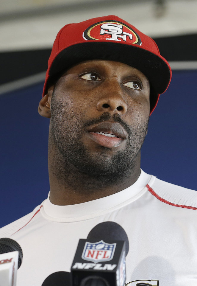 Photo - San Francisco 49ers wide receiver Anquan Boldin speaks to reporters at an NFL football training facility in Santa Clara, Calif., Wednesday, Jan. 15, 2014. The 49ers are scheduled to play the Seattle Seahawks for the NFC Championship on Sunday. (AP Photo/Jeff Chiu)