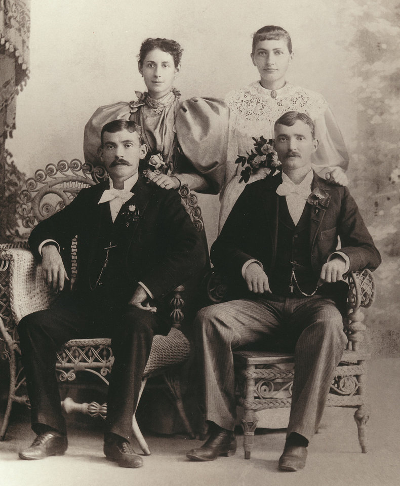 Photo - John Gotlieb Foerster Jr., left,  and Ella Lena Alma Keck, standing behind him, were married  July 7, 1896. Beside them are Alvin Foerster and Lena Heller Foerster, the best man and matron of honor. Photo provided by Susan Crowder.  PROVIDED