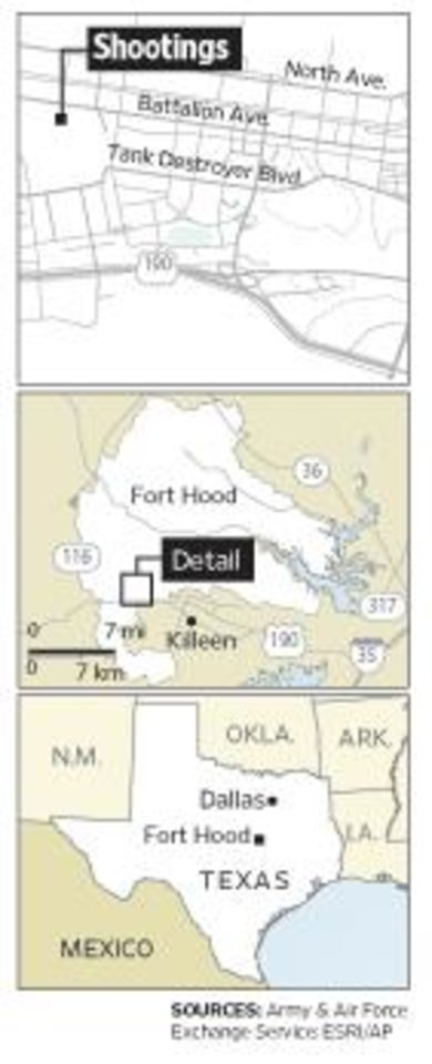 Photo - SHOOTING / FORT HOOD / DEATH / SOLDIERS KILLED / RAMPAGE / TEXAS LOCATOR MAP: An Army psychiatrist set to be shipped overseas opened fire at the Fort Hood Army post Nov. 5, 2009, killing 12 and wounding 31. - SOURCES FOR MAP - ARMY & AIR FORCE EXCHANGE SERVICE ESRI/AP