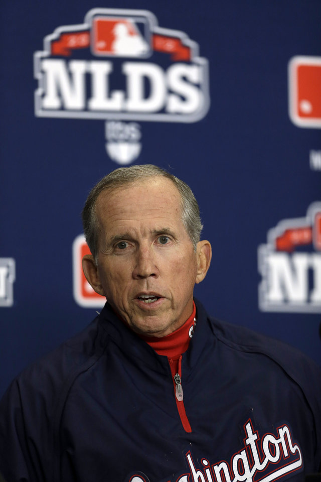 Washington Nationals manager Davey Johnson speaks during a news conference, Saturday, Oct. 6, 2012, in St. Louis. The Nationals and the St. Louis Cardinals are scheduled to play Game 1 in the National League division series on Sunday. (AP Photo/Jeff Roberson)