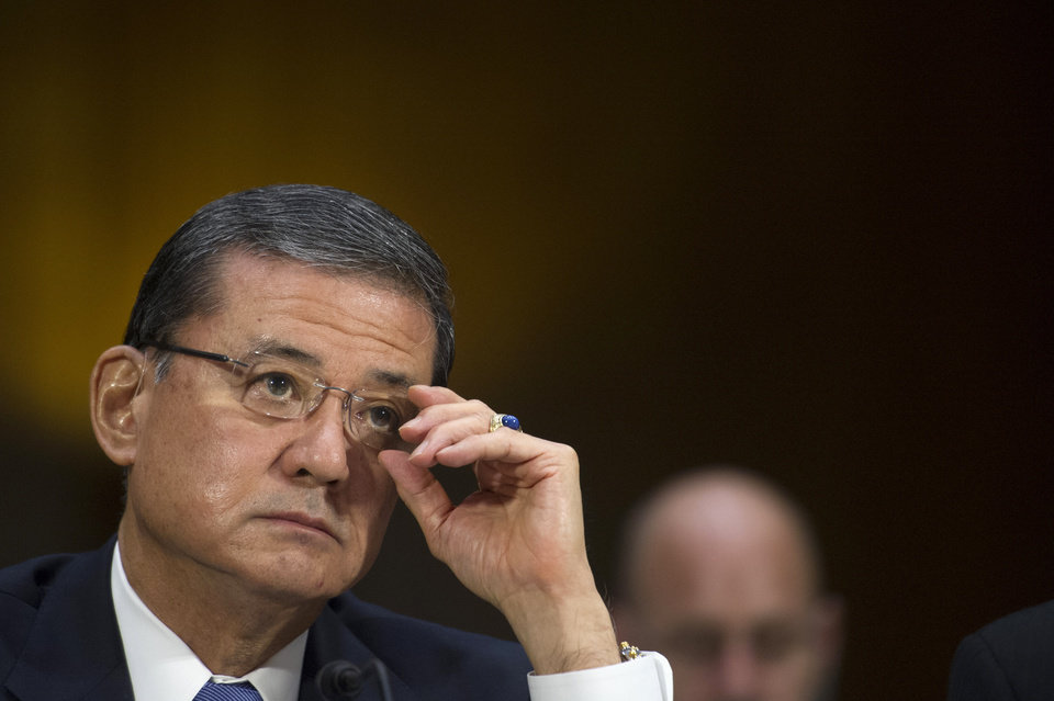 Photo - Veterans Affairs Secretary Eric Shinseki testifies on Capitol Hill in Washington, Thursday, May 15, 2014, before the Senate Veterans Affairs Committee hearing to examine the state of Veterans Affairs health care. (AP Photo/Cliff Owen)
