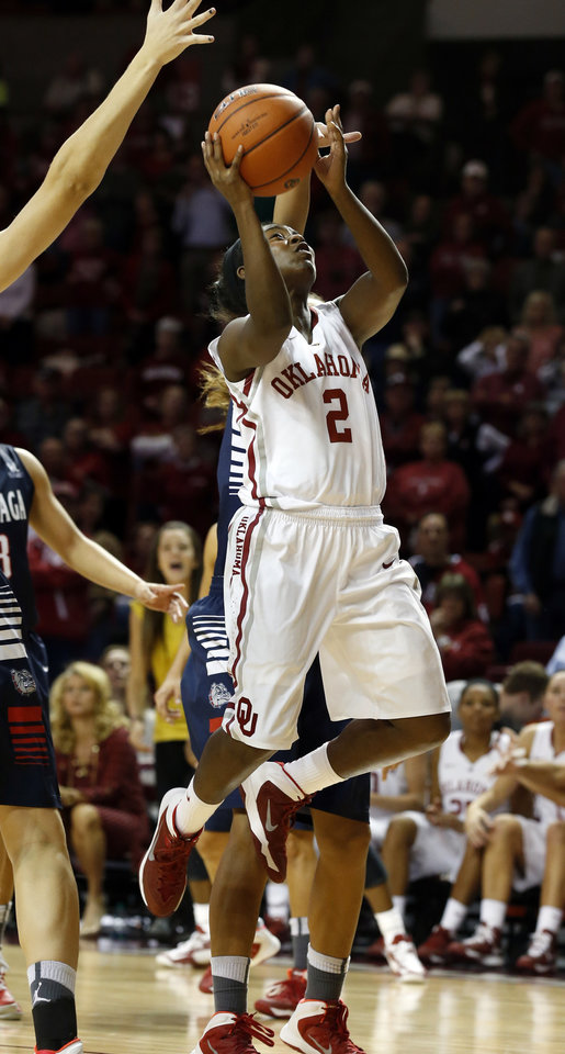 Photo - Oklahoma Sooner's T'ona Edwards (2) shoots in the second half as the University of Oklahoma Sooners (OU) defeat the Gonzaga Bulldogs 82-78 in NCAA, women's college basketball at The Lloyd Noble Center on Thursday, Nov. 14, 2013  in Norman, Okla. Photo by Steve Sisney, The Oklahoman