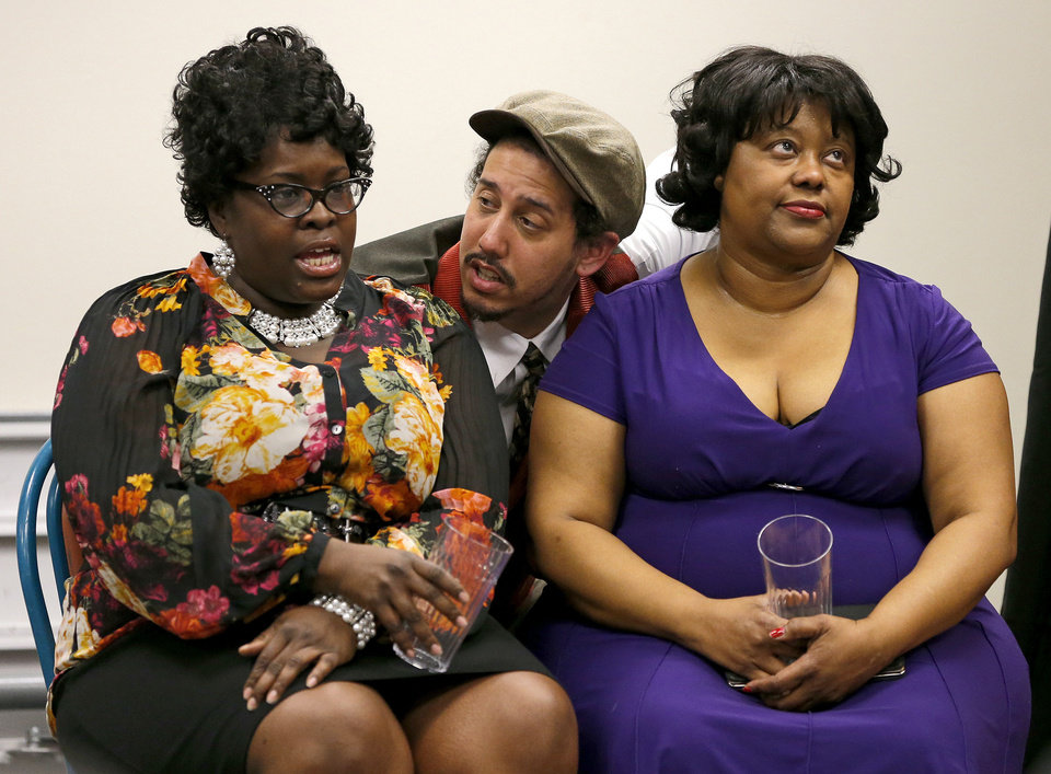 "Dacia Hooks, left, La'Charles Purvey and Trena Brown perform in ""Swingin' and Singin' in Deep Deuce"" with Rhythmically Speaking at Belle Isle Library. Photo by Bryan Terry, The Oklahoman <strong>BRYAN TERRY - THE OKLAHOMAN</strong>"