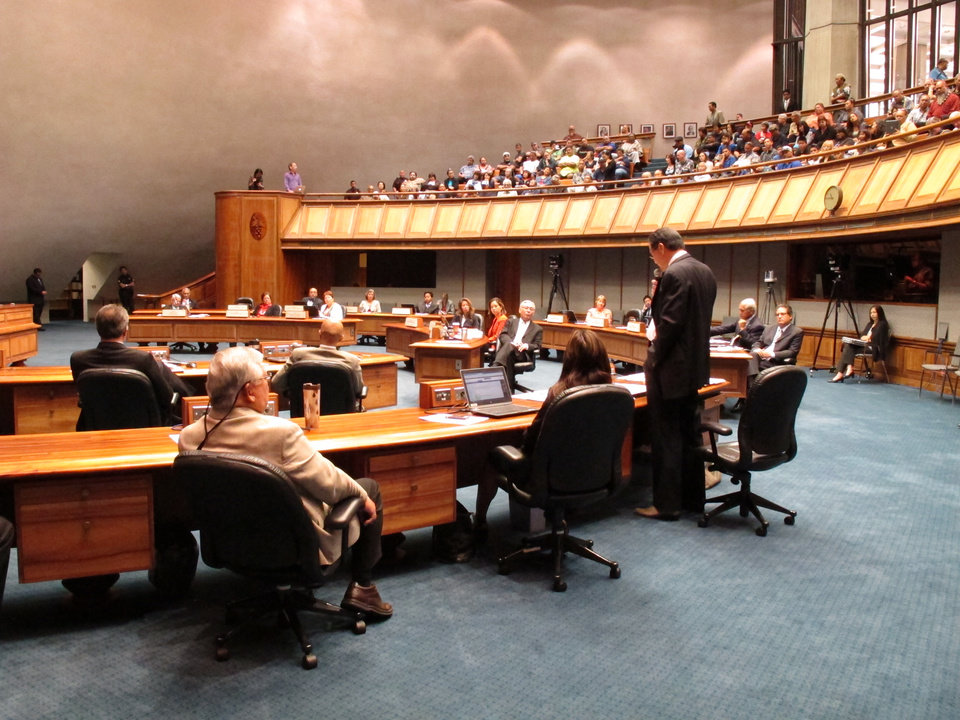 Photo - Senate lawmakers debate a gay marriage bill at the Hawaii Capitol in Honolulu on Tuesday, Nov. 12, 2013. The bill allowing same-sex couples to wed on the islands starting Dec. 2 is expected to pass easily barring any unexpected surprises. (AP Photo/Oskar Garcia)