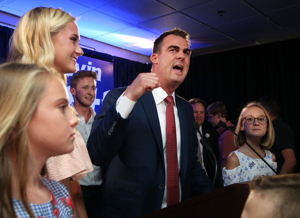 Photo - Gubernatorial candidate Kevin Stitt celebrates his victory over Mick Cornett at his watch party in Jenks, Okla., on Tuesday, August 28, 2018. MATT BARNARD/Tulsa World