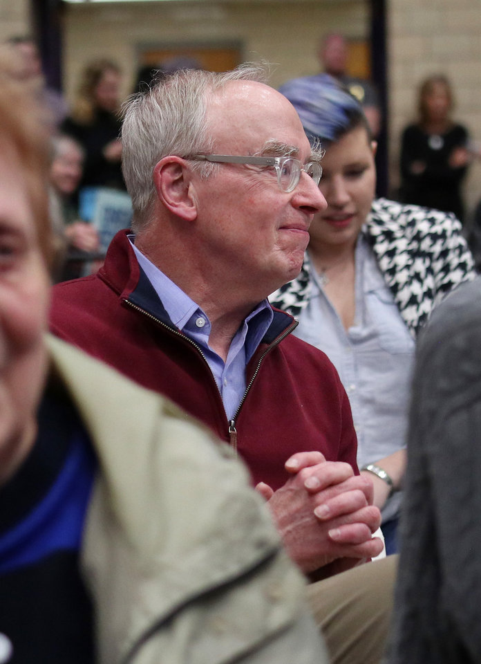 Photo - Sen. Elizabeth Warren's husband, Bruce, during an Elizabeth Warren campaign stop in Oklahoma City at Northwest Classen High School, her alma mater, Sunday, December 22, 2019. [Photo by Doug Hoke/The Oklahoman]