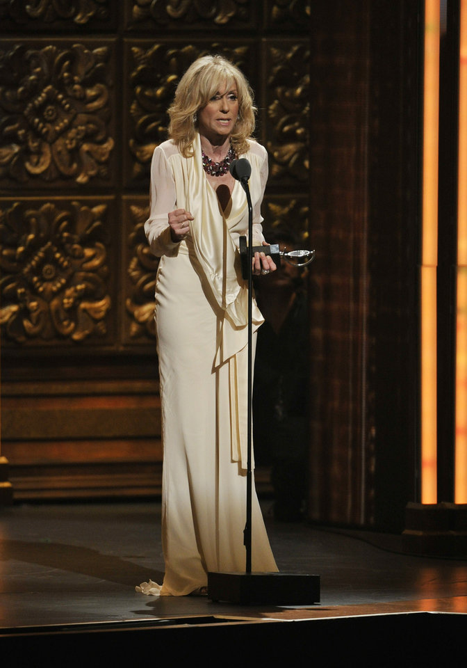 Photo -   Judith Light accepts the award for best actress in a featured role in a play at the 66th Annual Tony Awards on Sunday June 10, 2012, in New York. (Photo by Charles Sykes /Invision/AP)