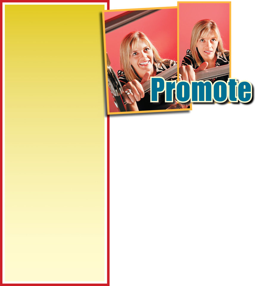Photo - Graphic  with photos: Promote Yourself! (woman climbing ladder) - Photo 1: Model Jaimie Boden with ladder for You! self promotion cover. Photographed in the OPUBCO studio, Tuesday July 8, 2008. BY NATE BILLINGS, THE OKLAHOMAN ORG XMIT: KOD; Photo 2:  Model Jaimie Boden with ladder for You! self promotion cover. Photographed in the OPUBCO studio, Tuesday July 8, 2008. BY NATE BILLINGS, THE OKLAHOMAN ORG XMIT: KOD