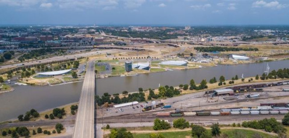Photo -  Drone image of Boathouse District and Oklahoma River. [Dave Morris/The Oklahoman]