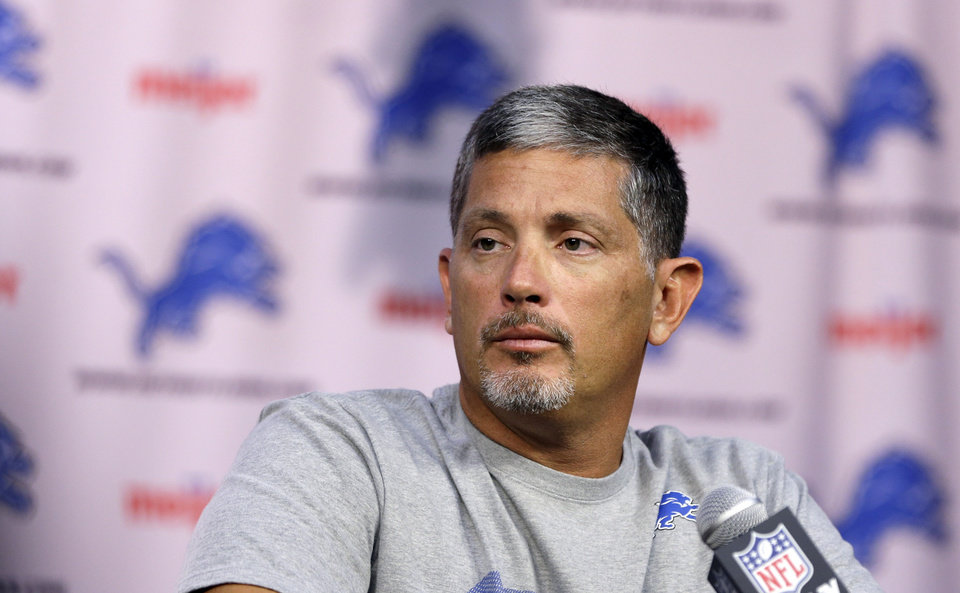 Detroit Lions head coach Jim Schwartz addresses the media during a news conference at their training facility in Allen Park, Mich., Thursday, July 25, 2013. The Lions are reported to training camp Thursday, facing more pressure to win than usual because they seem to have the pieces to be a success after an eight-game slide turned last year\'s promising season into a 4-12 flop. (AP Photo/Carlos Osorio)