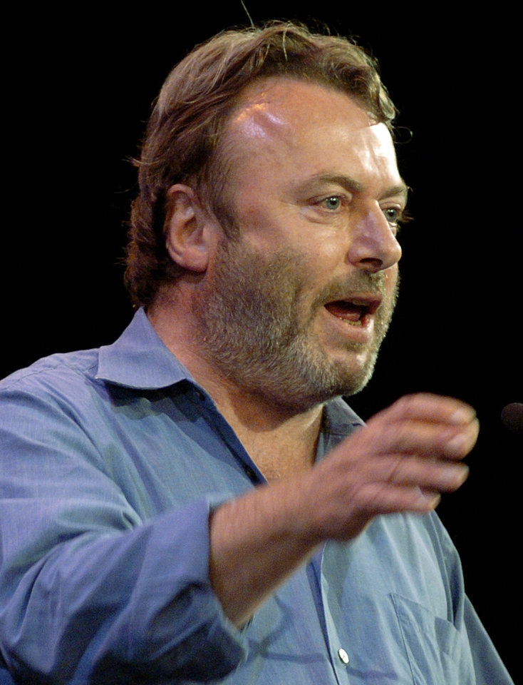 Photo -   FILE - Essayist Christopher Hitchens speaks during a debate on Iraq and the foreign policies of the United States and Britain, in this Sept. 14, 2005 file photo taken in New York. Vanity Fair reports Hitchens died on Thursday Dec. 15, 2011 at the age of 62 from complications of cancer of the esophagus his magazine. The magazine reports he died in the presence of friends at the MD Anderson Cancer Center in Houston, Texas. (AP Photo/Chad Rachman)