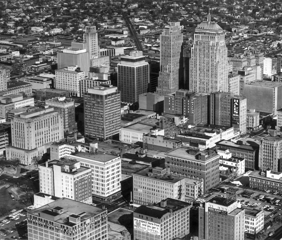 OKLAHOMA CITY / SKYLINE / AERIAL VIEW:  Aerial view of downtown Oklahoma City taken 02/08/1967.  Staff photo by Jim Lucas. Intersection seen at lower left is Hudson and Park Avenues on the southwest corner of the Oklahoma County Courthouse. Photo ran in the 08/07/1983 Daily Oklahoman.