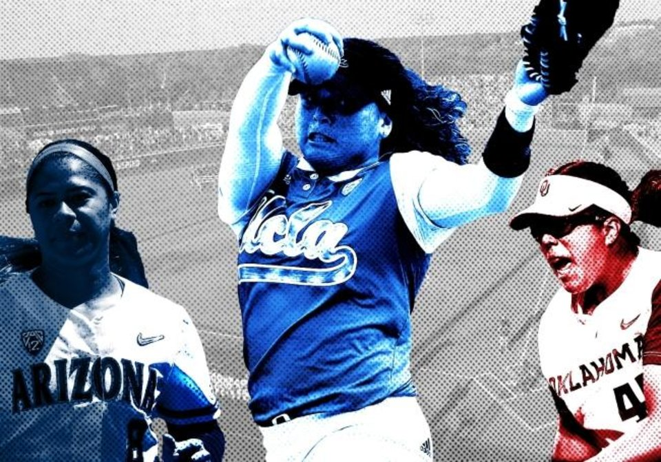 Photo -  With stars such as Arizona catcher Dejah Mulipola, UCLA pitcher Rachel Garcia and Oklahoma pitcher Giselle Juarez set to return next season, we could have a star-studded WCWS in Oklahoma City. [OKLAHOMAN PHOTO ILLUSTRATION]