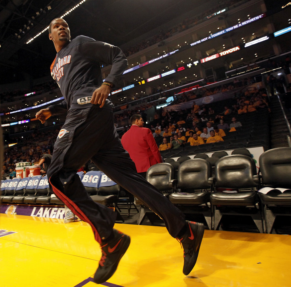 Photo - Oklahoma City's Kevin Durant (35) takes the court before Game 3 in the second round of the NBA basketball playoffs between the L.A. Lakers and the Oklahoma City Thunder at the Staples Center in Los Angeles, Friday, May 18, 2012. Photo by Nate Billings, The Oklahoman