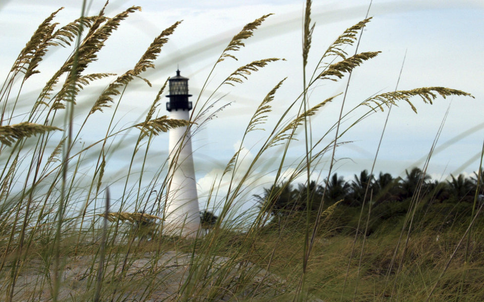 The Cape Florida lighthouse is shown at Bill Baggs Cape Florida State Park in Key Biscayne, Fla. Cape Florida State Park is on the list of Top 10 beaches. (AP PHOTO)