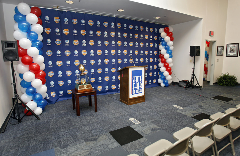 The new post game interview room renovations to the Cotton Bowl on display to the media on Wednesday, Sept 17,  2008, in Dallas, Texas.