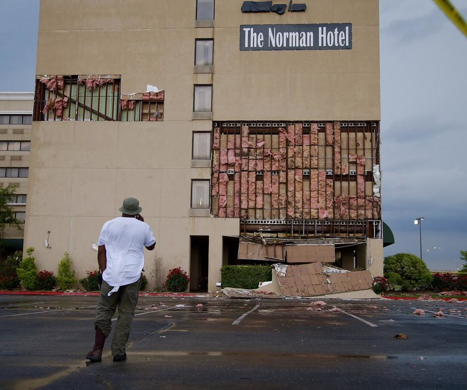 Photo - Damage to the Norman Hotel in Norman, Oklahoma. Photo by Bryan Terry / NewsOK