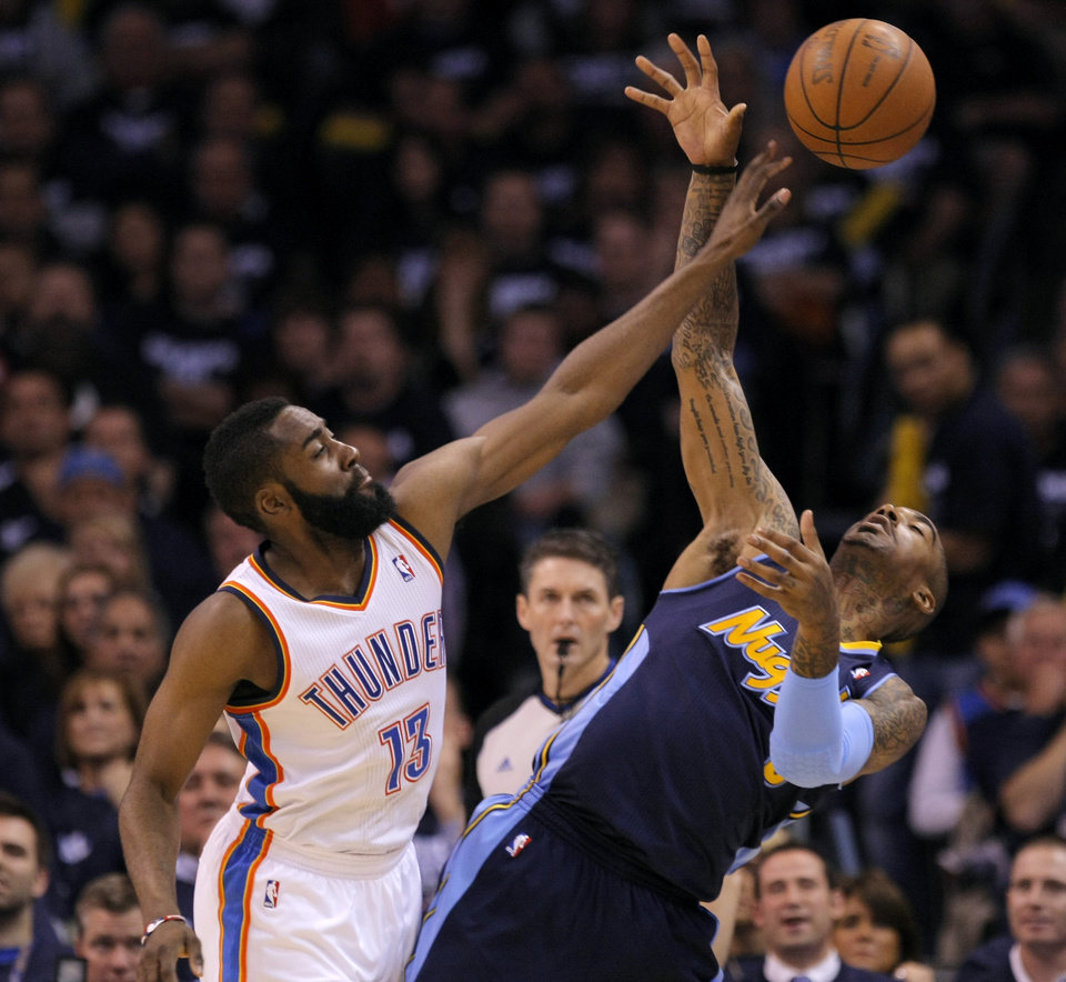 Oklahoma City's James Harden (13) defends Denver's J.R. Smith (5) during the NBA basketball game between the Denver Nuggets and the Oklahoma City Thunder in the first round of the NBA playoffs at the Oklahoma City Arena, Wednesday, April 27, 2011. Photo by Bryan Terry, The Oklahoman