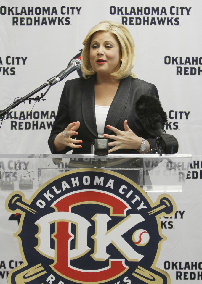 Newcastle Casino marketing manager Jennifer Cross talks during the press conference to announce the new name for the ballpark. Newcastle Field at Bricktown where the Redhawks will play their home games Wednesday, April 4, 2012. Photo by Doug Hoke, The Oklahoman