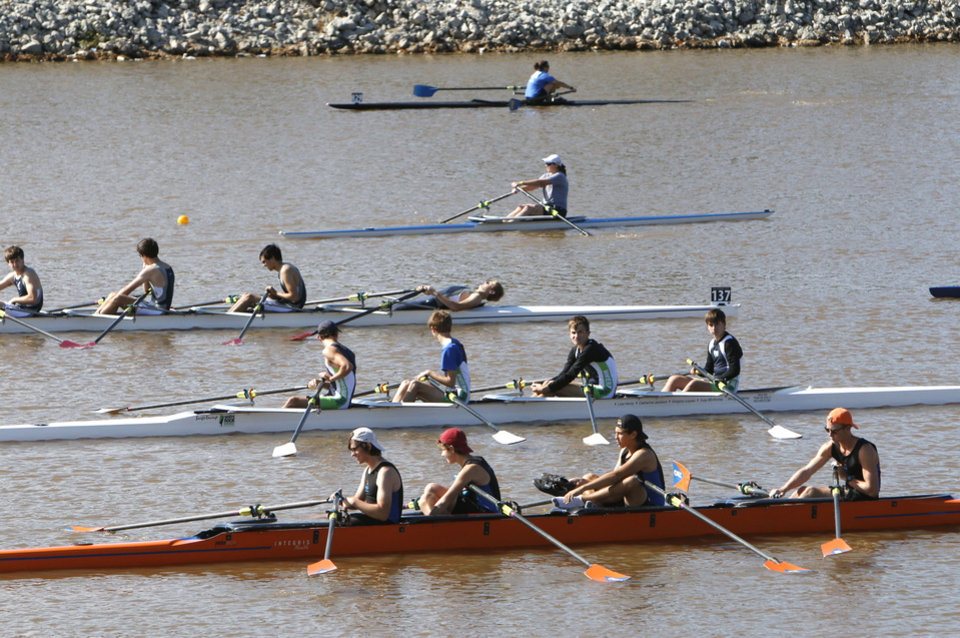 Photo - Rowing teams wait in the staging area during the Oklahoma Regatta Festival on the Oklahoma River in Oklahoma City, OK, Saturday, October 5, 2013,  Photo by Paul Hellstern, The Oklahoman