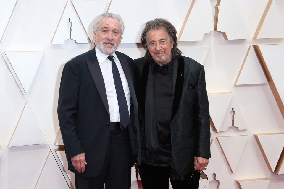 Photo - Feb 9, 2020; Los Angeles, CA, USA;  Robert De Niro, left and Al Pacino arrive at the 92nd Academy Awards at Dolby Theatre. Mandatory Credit: Dan MacMedan-USA TODAY