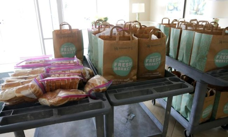 Photo - Sacks of food are pictured during church's