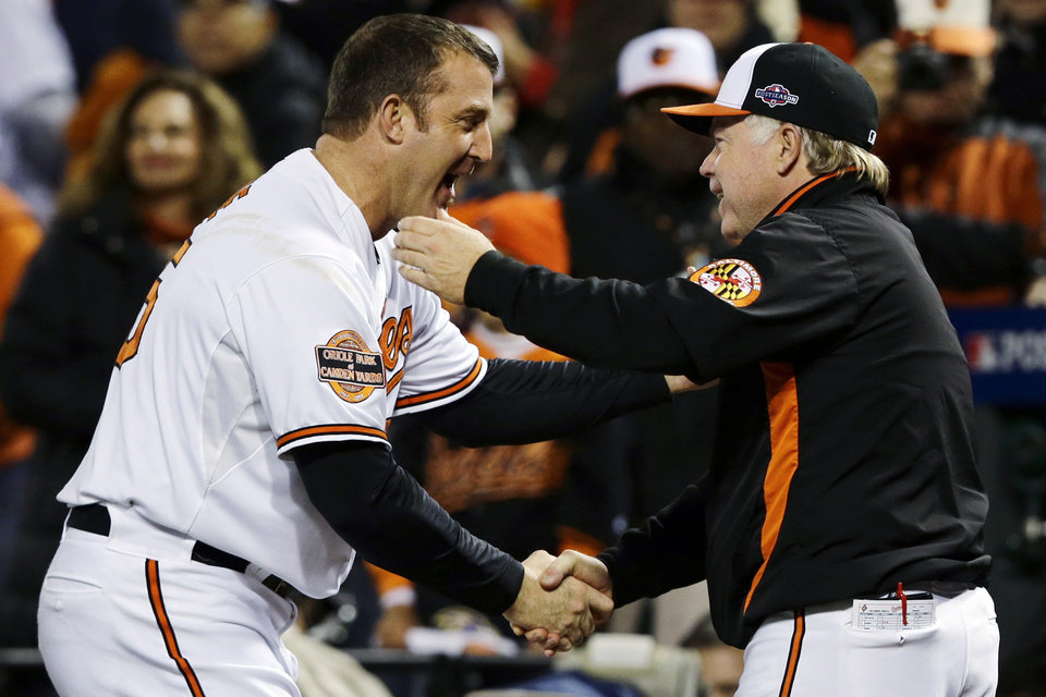 Baltimore Orioles' Jim Thome, left, shakes hands with manager Buck Showalter after their 3-2 win over the New York Yankees in Game 2 of the American League division baseball series, Monday, Oct. 8, 2012, in Baltimore. (AP Photo/Alex Brandon)