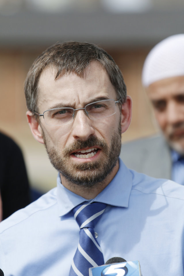 Photo - Bryan Kiesel, ACLU, speaks during a press conference called by CAIR-OK in front of Republican Headquarters in response to Rep. John Bennett's statements about Muslims Wednesday, Sept. 15, 2014. Photo by Doug Hoke, The Oklahoman