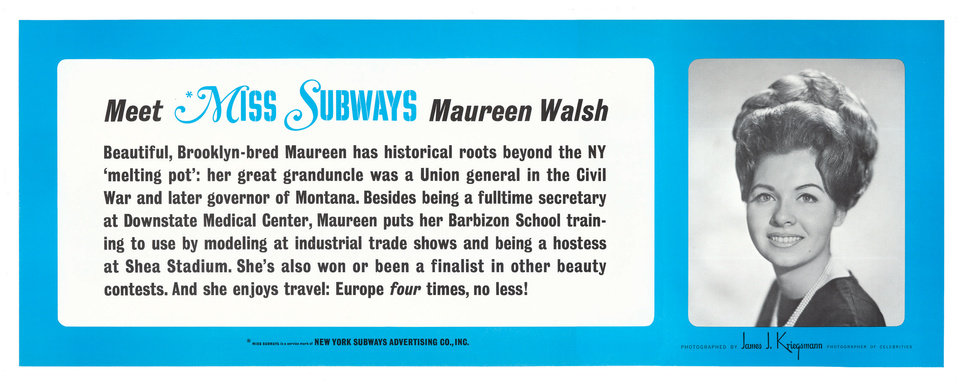 """This image provided by the MTA courtesy of the New York Transit Museum shows Maureen Walsh, who appeared on placards in the New York City subways from Feb.– Aug. 1968 in the """"Meet Miss Subways"""" campaign that ran for 35 years as eye candy to bring attention to other advertisements in New York's transit system."""