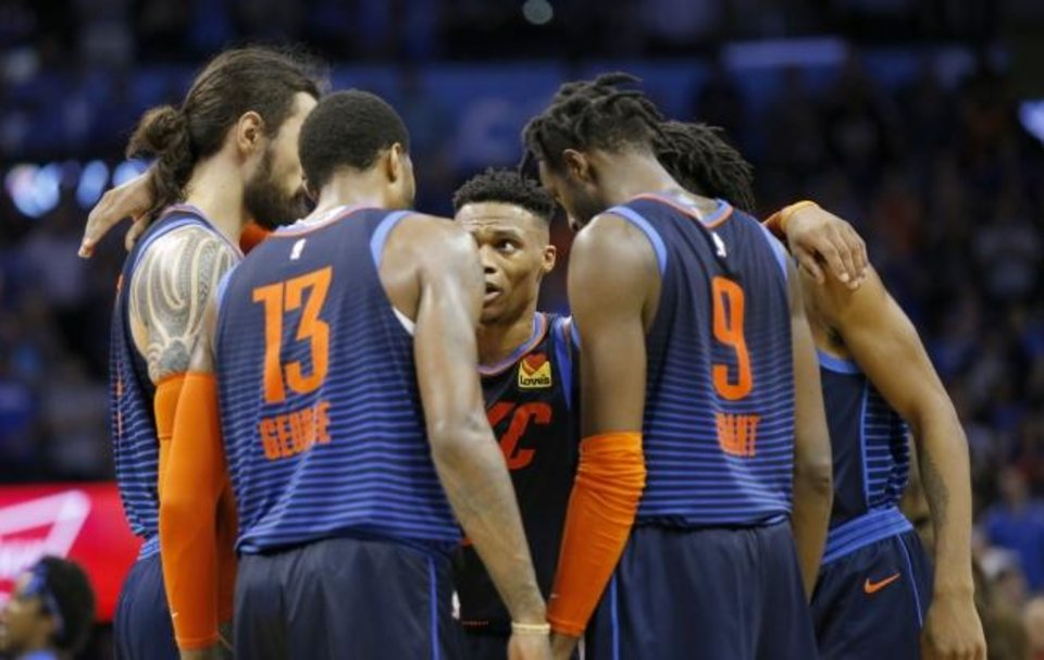 Photo -  After sweeping Portland in the regular season, Russell Westbrook (center) and the Thunder are favored to beat the Trail Blazers in the first round of the playoffs. [Sarah Phipps/The Oklahoman]