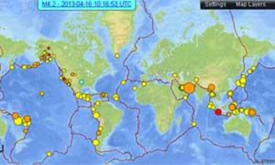 7-day earthquake map from the USGS