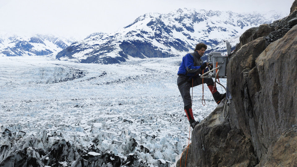 Photo -   This 2007 photo released by Extreme Ice Survey shows James Balog installing a