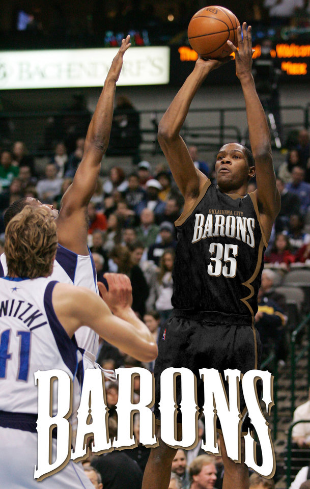 Photo - Seattle SuperSonics guard Kevin Durant (35) shoots the ball over Dallas Mavericks guard Eddie Jones and forward Dirk Nowitzki (41) during the first half of an NBA basketball game Saturday, Jan. 19, 2008, in Dallas.  (AP Photo/Tim Sharp) ORG XMIT: DNA102 ORG XMIT: OKC0801192132465612 ORG XMIT: 0805122155173663 **ILLUSTRATION BY KASEY MOODY**