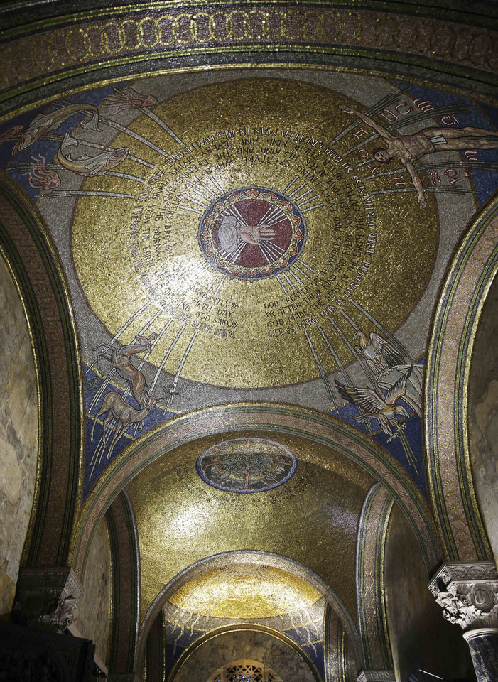 "Photo - This Thursday, March 20, 2014 photo shows the glass mosaic decorated domes by  Hildreth Meiere in St. Bartholomew's Church in New York. While Meiere's name has been largely forgotten her works abound throughout the country. ""The Art Deco Murals of Hildreth Meiere,"