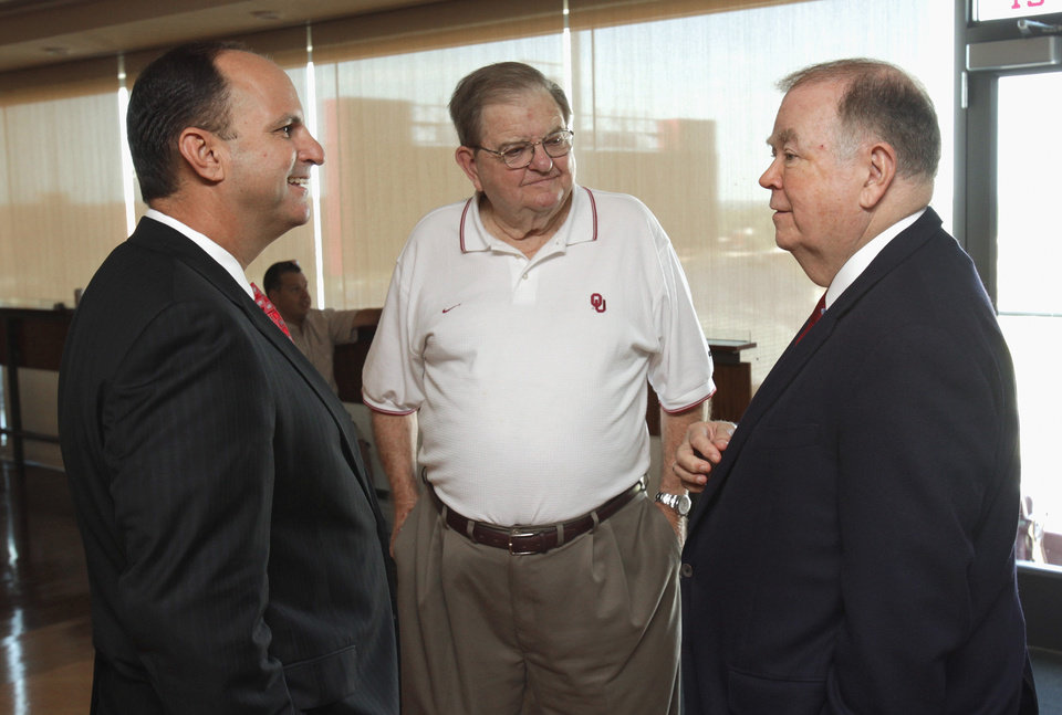 UNIVERSITY OF OKLAHOMA / OU / RETIRE: University of Oklahoma president David Boren (right) and Athletic Director Joe Castiglione (left) speak with radio announcer Bob Barry at the stadium club on Tuesday, August 31, 2010, in Norman, Okla.  Photo by Steve Sisney, The Oklahoman