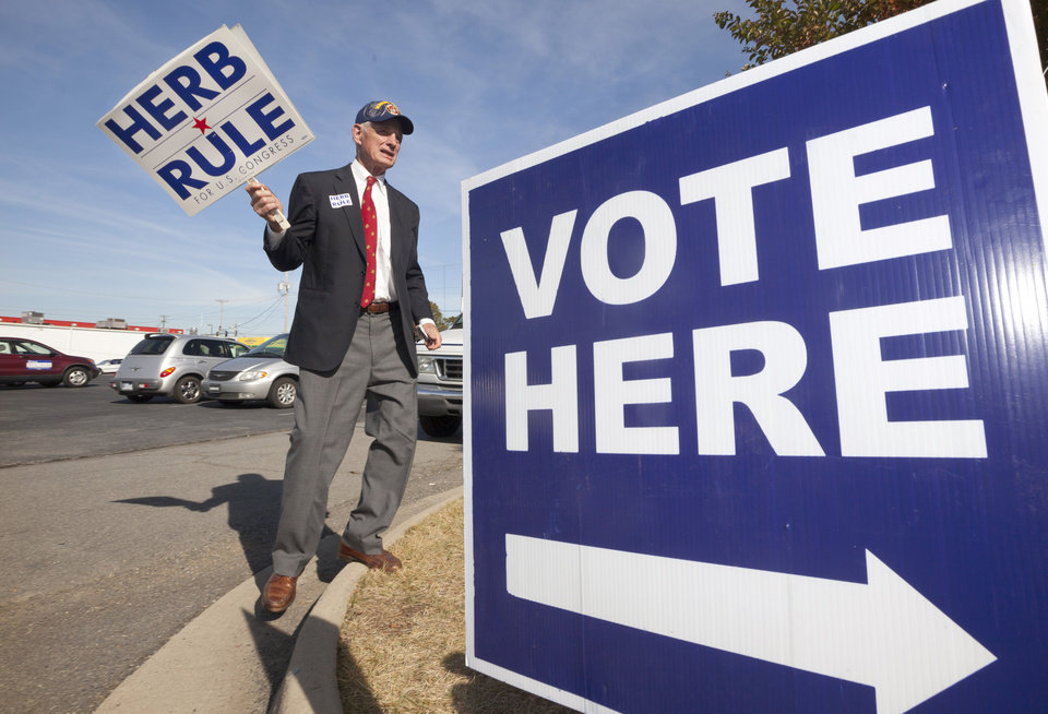 Democratic Congressional candidate Herb Rule does some last-minute campaigning at a polling place in North Little Rock, Ark., Tuesday, Nov. 6, 2012. Rule is challenging Republican Congressman Tim Griffin in Arkansas' 2nd District. (AP Photo/Danny Johnston)