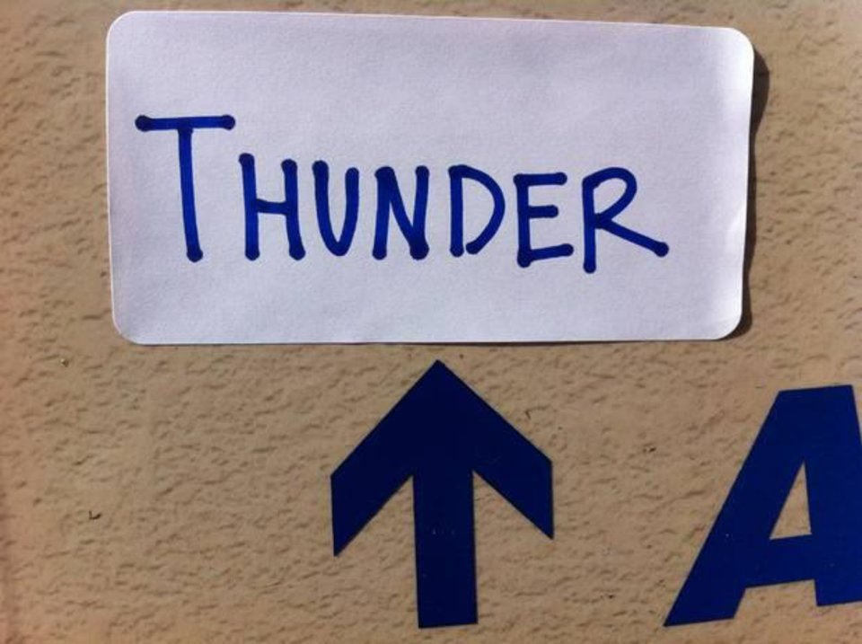 This fan is strategically placing Thunder stickers on signs around South Florida. Will the Heat fans get it?