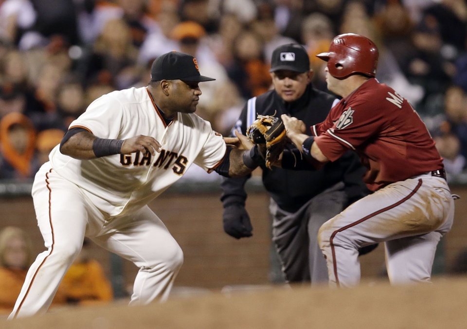 Photo -   San Francisco Giants third baseman Pablo Sandoval, left, collides with Arizona Diamondbacks' John McDonald as he is tagged out after a ground ball by Adam Eaton during the eighth inning of a baseball game on, Wednesday, Sept. 5, 2012 in San Francisco. (AP Photo/Marcio Jose Sanchez)